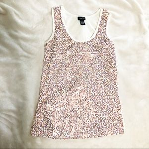 Rose gold holographic sequin tank top